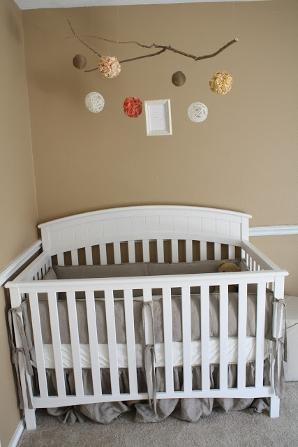 Adorable Alphabet Nursery with soft neutral colors! Creative mobile is perfect for this room!