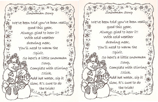Snowman Soup Poem Printable