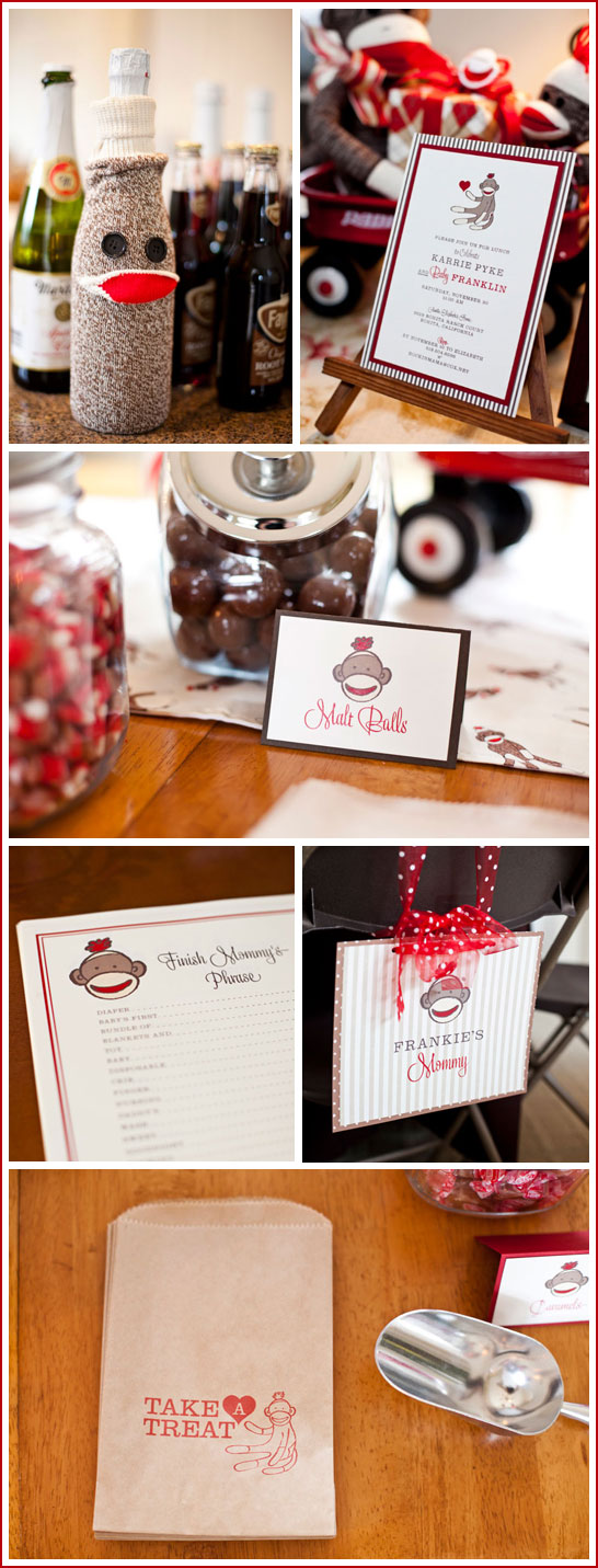 sock monkey baby shower by posh paperie via half baked the cake blog