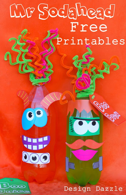 """Free Halloween Printable: Mr. Sodahead. Fun to give as a """"Booed"""" gift or use the monster faces to decorate pumpkins! Design Dazzle #freeprintables #halloweenprintables #monsters"""