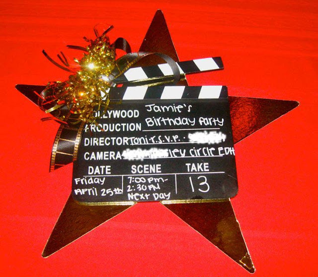 Hollywood Craft Ideas For Kids Part - 50: Hollywood Clapboard Birthday Invitation