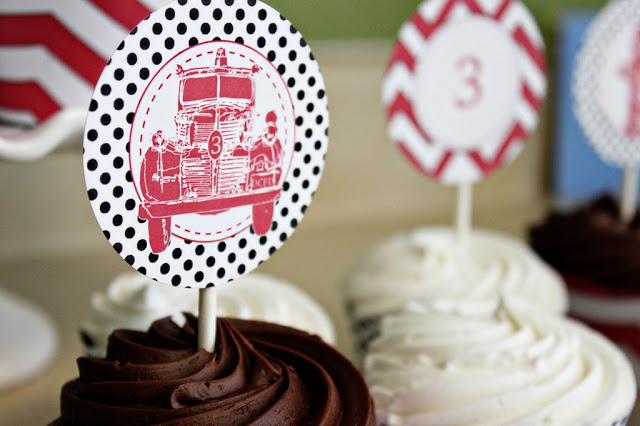 Vintage Firetruck Party by The English Pea! Cupcake toppers really add some great firetruck detail!