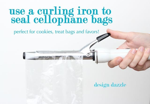 Use a curling iron to heat seal cellophane bags (not plastic bags). This is perfect way to make party favors for cookies, etc. - Design Dazzle