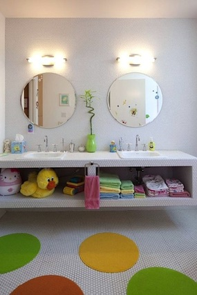 love that each child has their own mirror towel step stool and metal trash can in this bathroom - Kids Bathroom