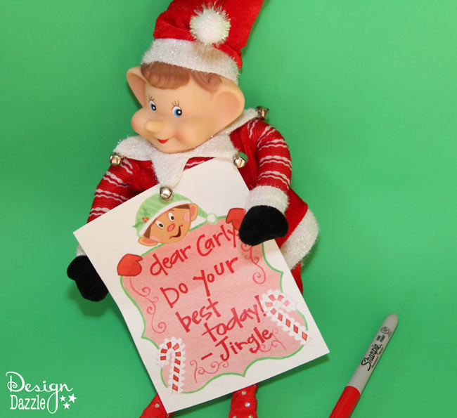 Free elf printables and Fun Elf Ideas - leave a note for your child from their elf or give cute little gifts with elf printables - Design Dazzle