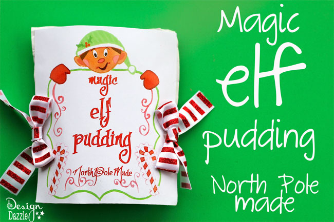 "Free Printable for Magic Elf Pudding by Design Dazzle. ""Why is the pudding magic? Because the pudding starts out white and turns green when you add milk."" #elfideas #christmaself #elfontheshelf"