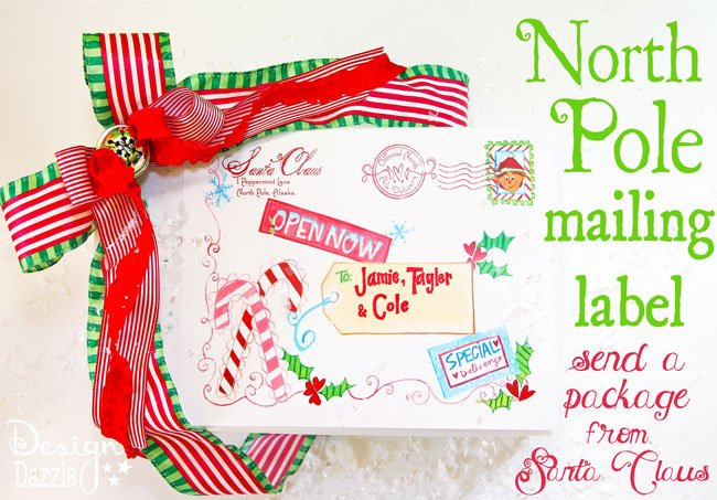 North Pole free mailing label! Leave a package to your kids from Santa Clause on the doorstep - it looks like Santa sent them an early gift. Include in the box - hot cocoa, pajama's and a Christmas book. Such a sweet surprise for a child to anticipate a yearly tradition (book and pj's). You can even place the package in the freezer for a bit. It is quite cold at the North Pole ; ) FREE printable from Design Dazzle