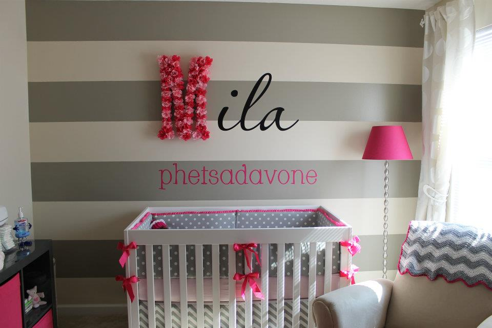 Modern Baby Nursery! Love this sweet room with baby name above the crib in a unique way! Featured on Designdazzle.com