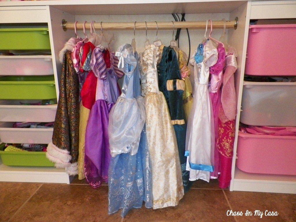 DIY dress up clothes storage system