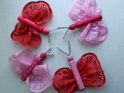 valentine's day crafts for kids - doily butterflies