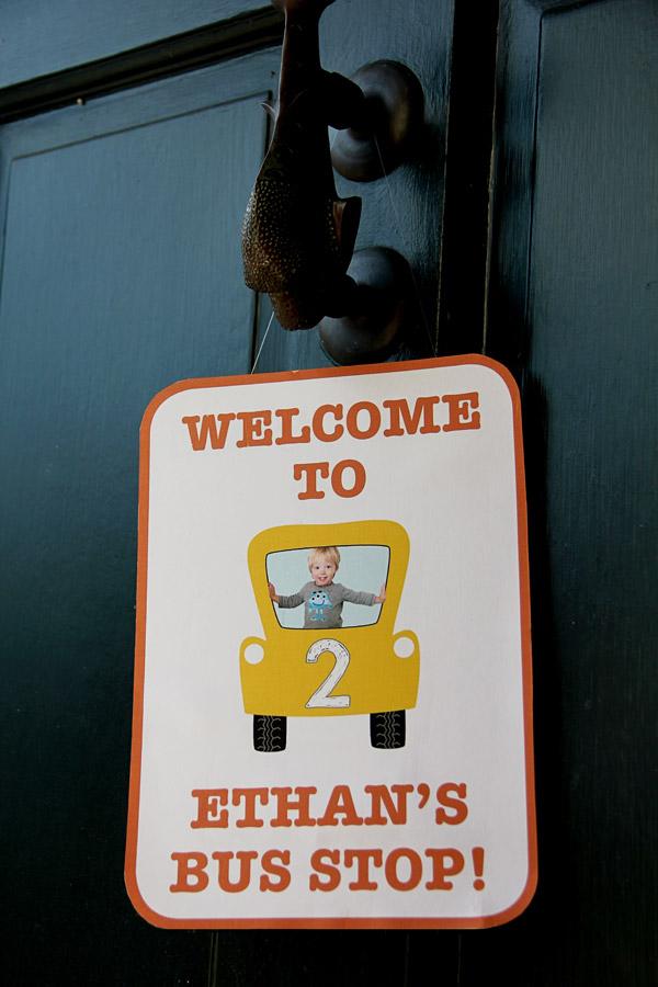 School Bus Birthday Door Sign