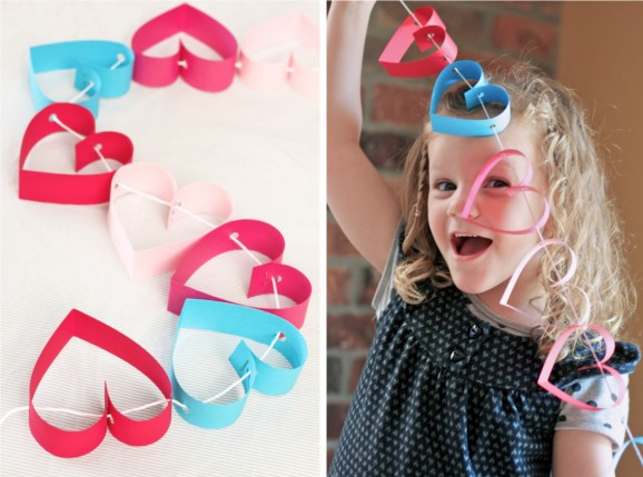 Valentines day crafts for kids - heart garland