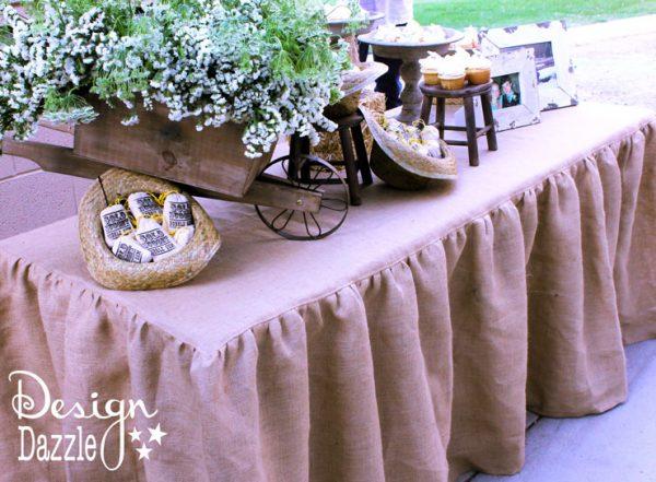 Burlap tablecloth for a western themed rehearsal dinner