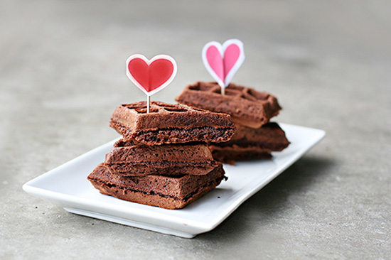 Valentine's Day Choco Waffles! More Valentine's Day Breakfast Ideas at Designdazzle.com