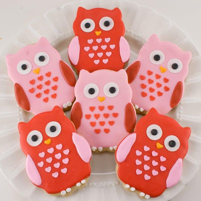 Valentine Owl Cookies