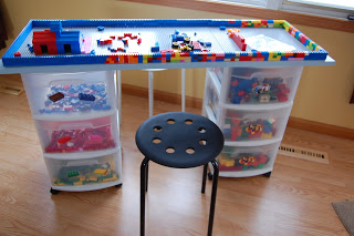 Lego storage table made from rolling carts