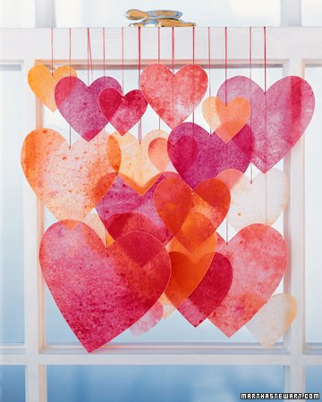 valentine's day crafts for kids - wax paper hearts