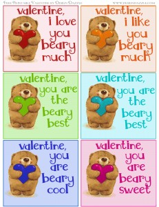 Free Valentine colorful bear printables