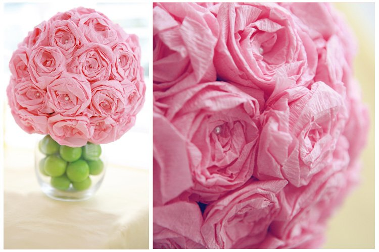 Crepe Paper Rose Ball