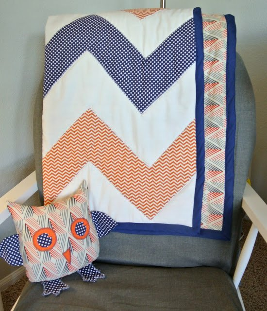chevron quilt and owl baby nursery