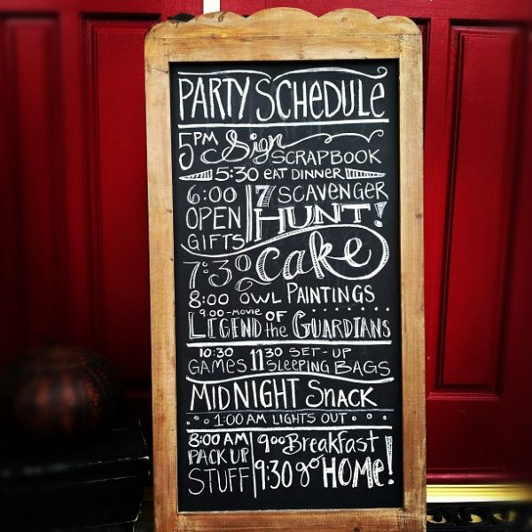 Night Owl Slumber Party chalkboard schedule