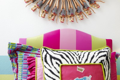 Girls Barbie bedroom headboard