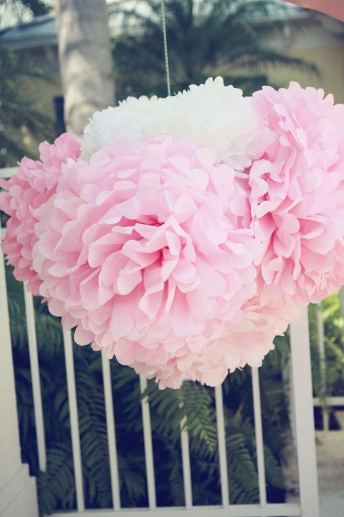 pink pom flower pinata
