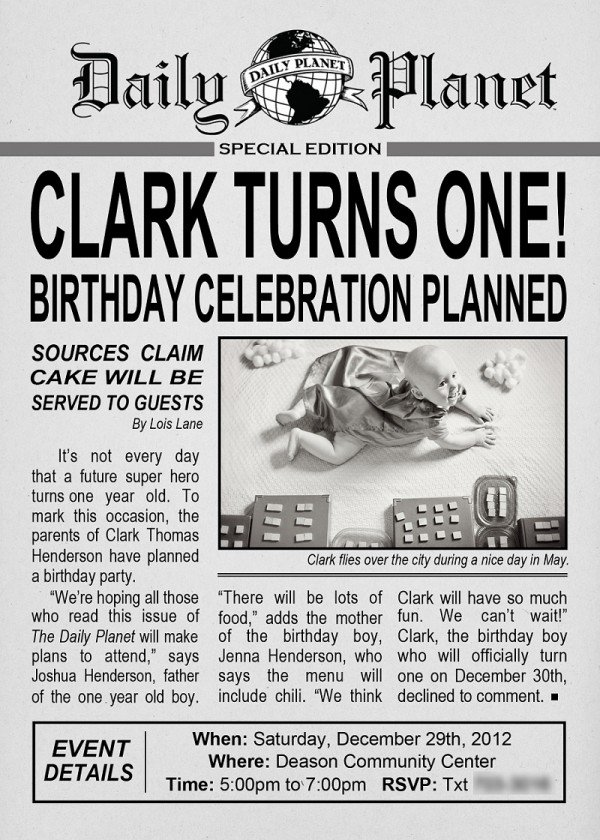 Daily Planet First Birthday Invitation
