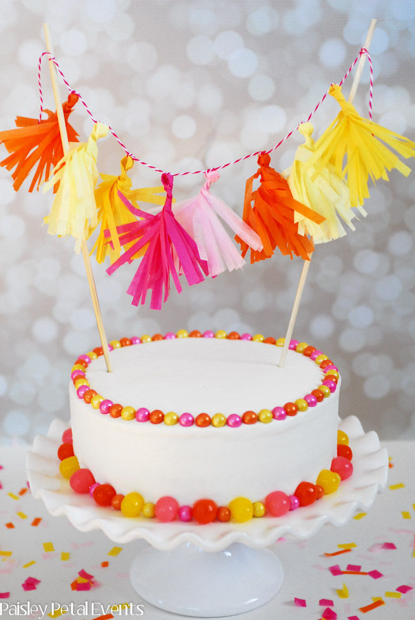 Mini Tissue Tassel Garland Cake
