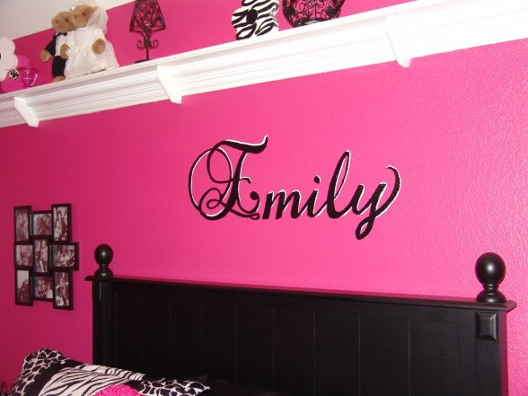 pink and black zebra teen girls bedroom