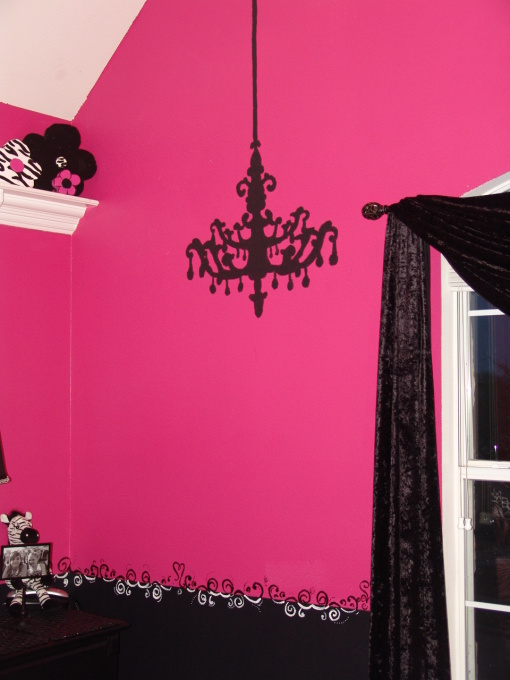 Chandelier wall sticker at home and interior design ideas unique girls pink black chandelier decal mozeypictures Images