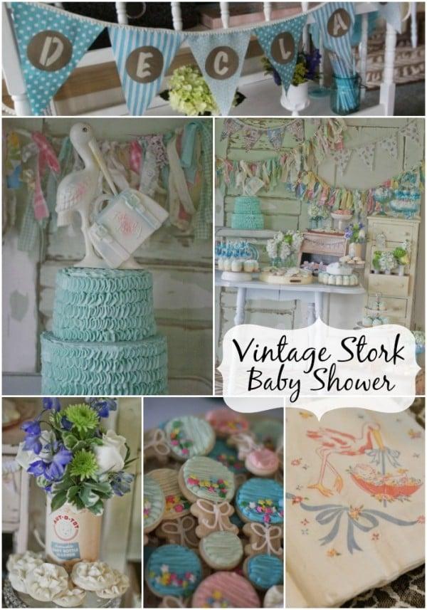 Vintage Stork Baby Shower Design Dazzle