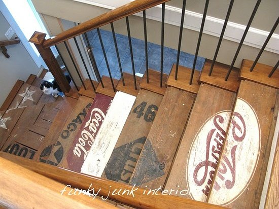 vintage wood staircase