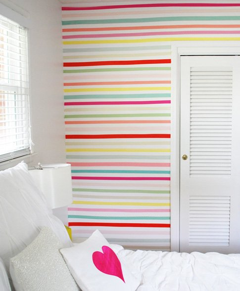 Washi tape wall project for Wall designs using tape