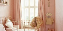 gingham window treatment girls room
