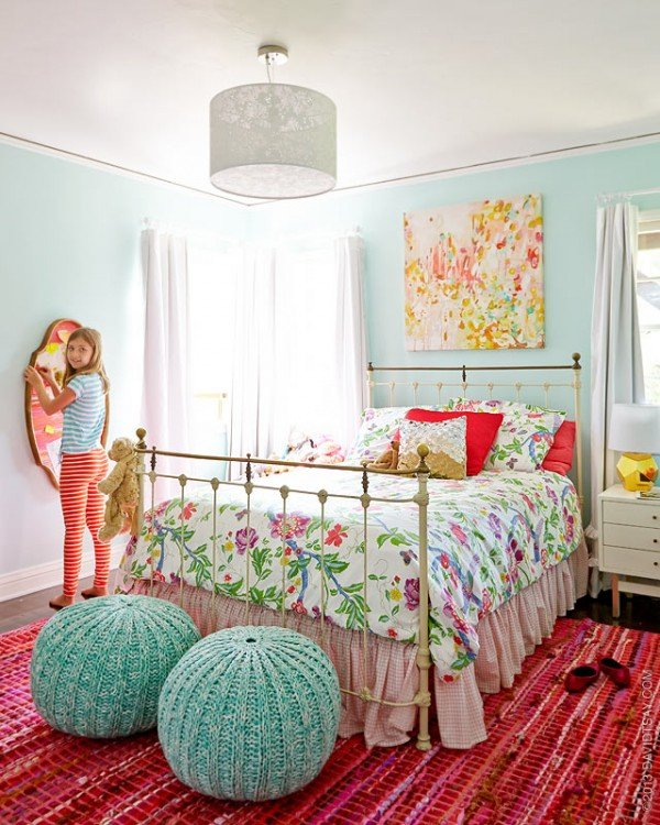 Bright colorful tween bedroom design dazzle Bed designs for girls