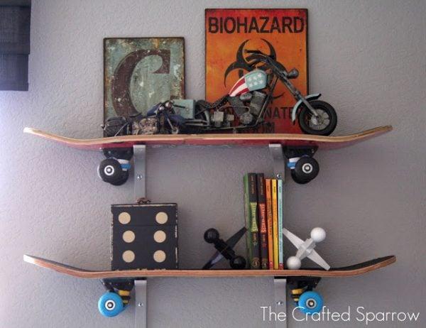 DIY kids room shelves made of skateboards