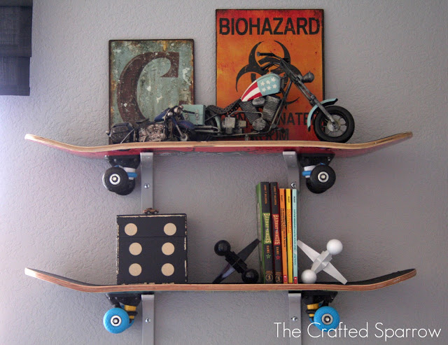 DIY kids room shelves made of skateboards