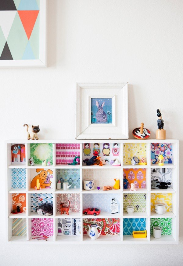 DIY kids room shelving splash of color