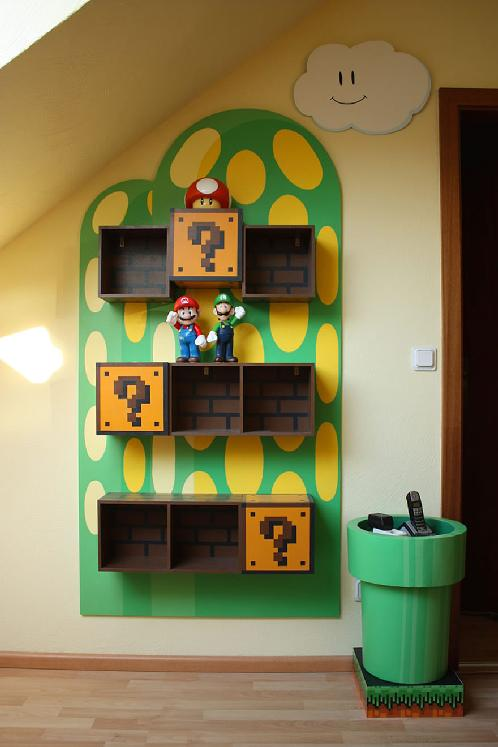 DIY kids room shelving Super Mario inspired