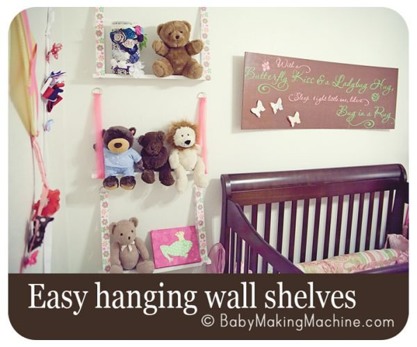 DIY kids room shelving made with ribbon