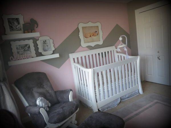 pink and grey girl nursery