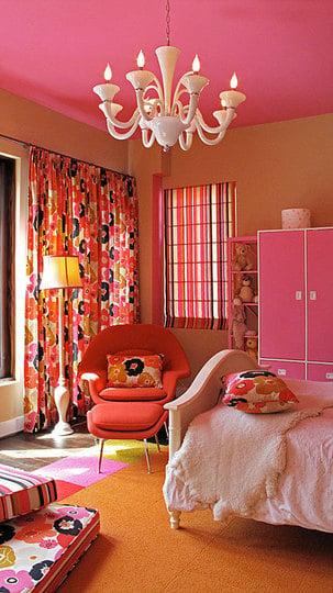 Orange Floral Bedroom Design Dazzle