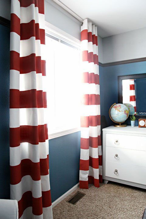 Diy striped curtains design dazzle for American flag bedroom ideas