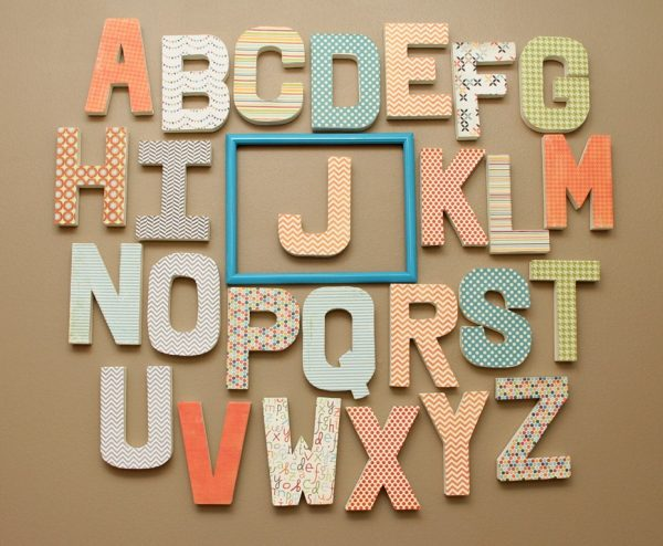 orange and turquoise baby nursery alphabet
