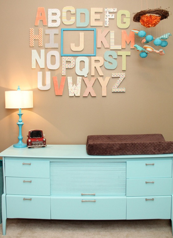 Orange And Turquoise Baby Nursery Alphabet And Changing Table