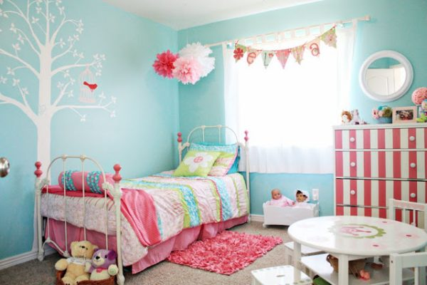 Pink and turquoise big girl room design dazzle for Turquoise and pink bedroom