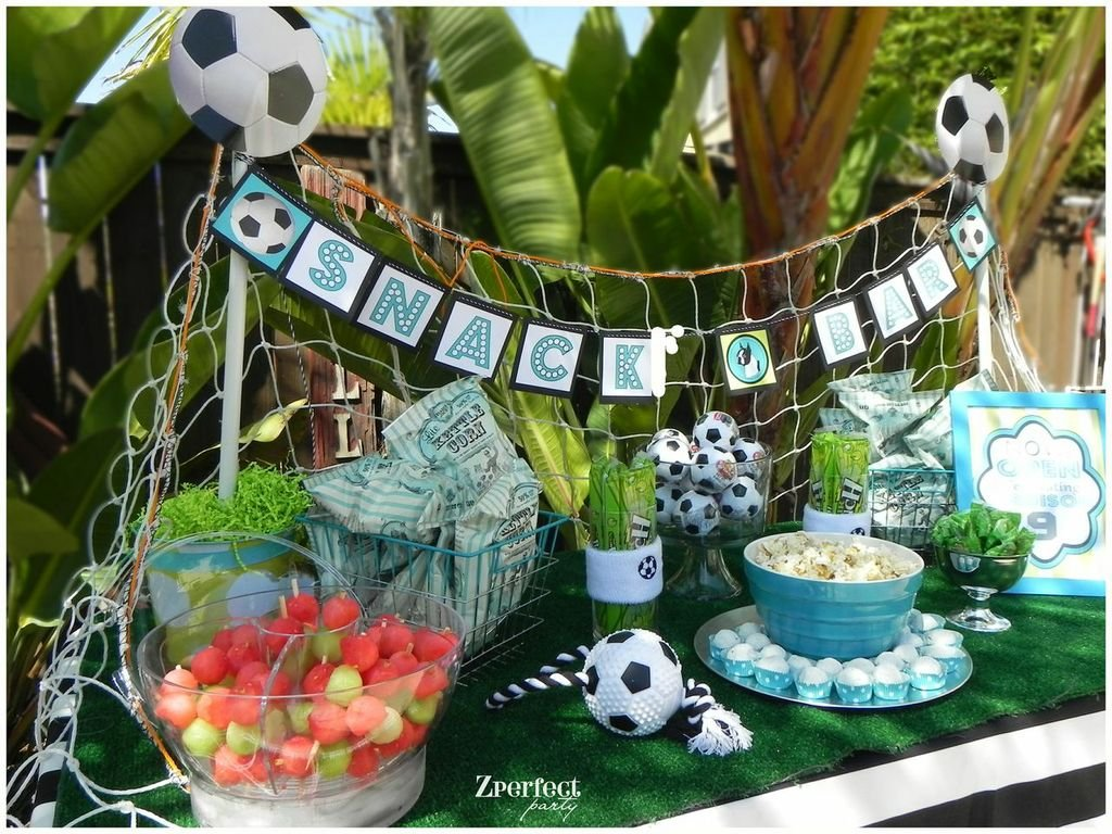 Girl's Soccer Birthday Party Snack Bar