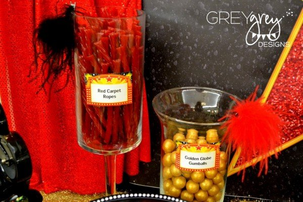 hollywood party red carpet ropes and golden globe gumballs