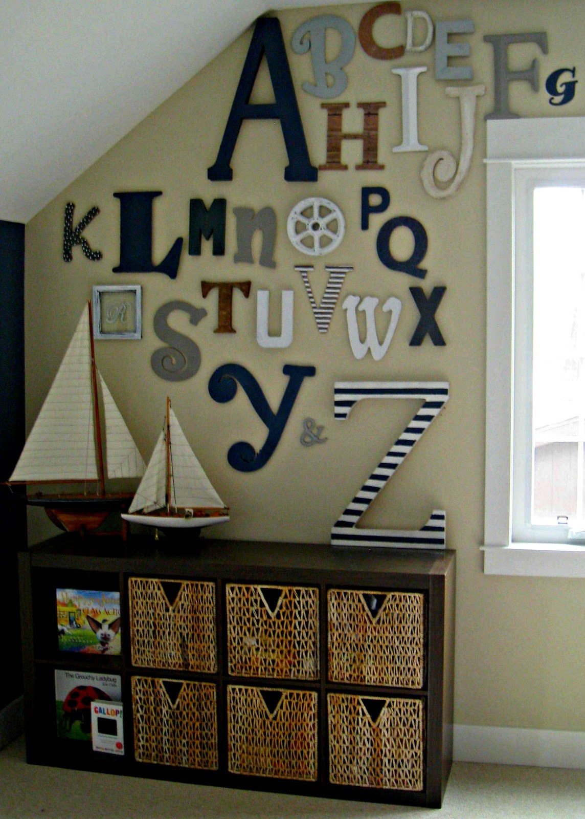play room letter wall
